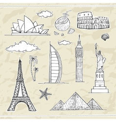 Travel and tourism labels collection vector