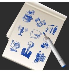 Sketchbook with business doodles vector
