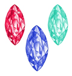 Marquis cut watercolour gems set vector