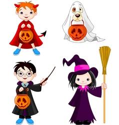 Halloween trick or treating children vector