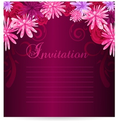 Invitation template with abstract flowers vector