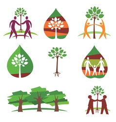 People and trees colorful icons vector