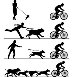 Dogs and cyclist vector