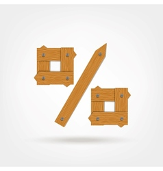 Wooden boards percentage sign vector