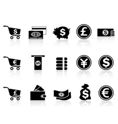 Black currency icons set vector