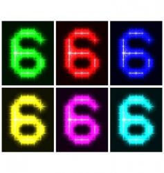 Number 6 symbols vector