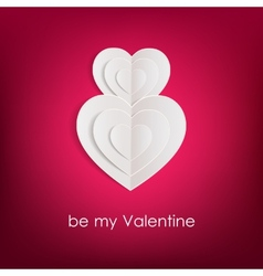 Valentines day background with white paper hearts vector
