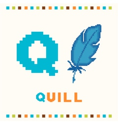 Alphabet for children letter q and a quill vector