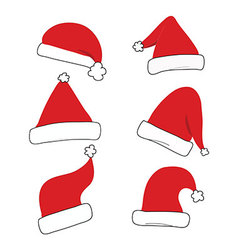 Red christmas hat set isolated vector