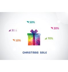 Stylized colorful box from triangles for christmas vector
