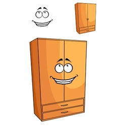 Cartoon wooden bedroom cupboard or wardrob vector