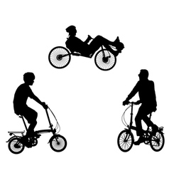 Unusual bicyclists vector