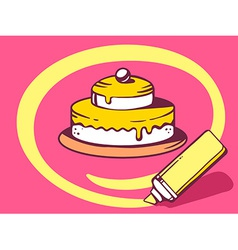 Marker drawing circle around cake on pink vector