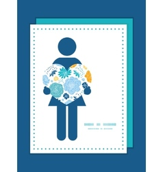 Blue and yellow flowersilhouettes woman in vector
