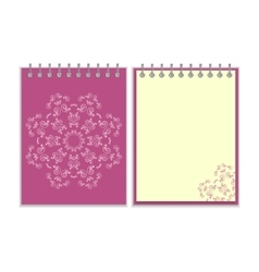 Purple cover notebook with round ornate star vector