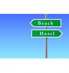 Arrows sign of beach hotel vector