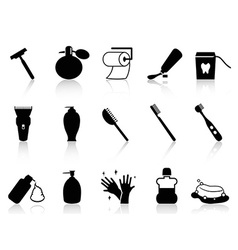 Black bathroom accessories icon set vector
