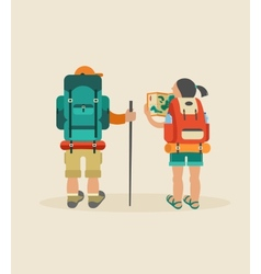 Vintage poster with couple of backpackers vector
