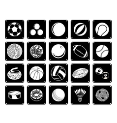Collection of sport ball icons on white background vector