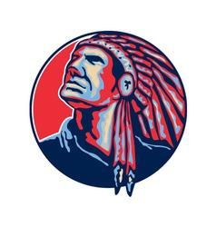 Native american indian chief retro vector