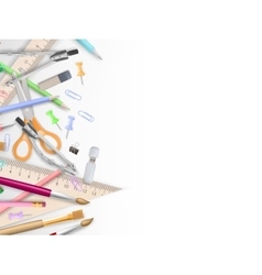 School supplies on white with copyspace eps 10 vector