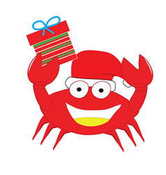 Red crab put christmas hat and gift box happy isol vector
