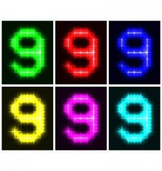Number 9 symbols vector