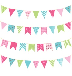 Set of multicolored flat buntings garlands with vector
