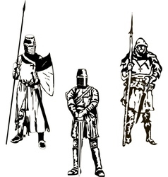 Three medieval knights vector
