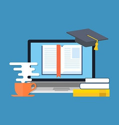 Distance education online learning concept flat vector