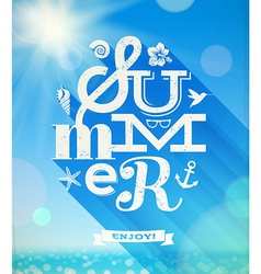 Summer type greeting with summer things vector