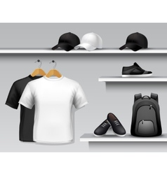 Sportswear store shelf vector