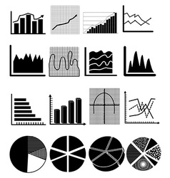 Chart graph icons set vector