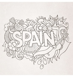 Spain country hand lettering and doodles elements vector
