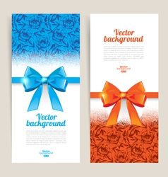 Greeting cards with gift bows vector