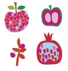 Fruit art set vector