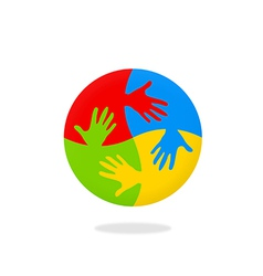 Hand circle colorful logo vector