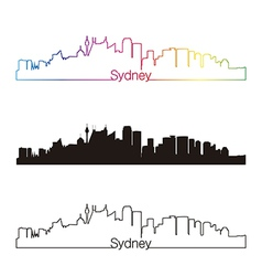 Sydney v2 skyline linear style with rainbow vector