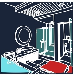 Contemporary interior bathroom doodles vector