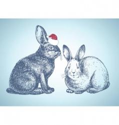 New year bunnies vector