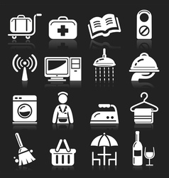 Hotel white icons set vector