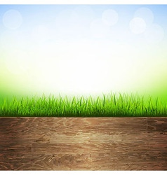 Wooden background with grass border vector