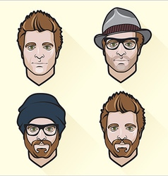 Set of flat design mens portraits vector