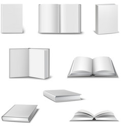 Realistic book set vector