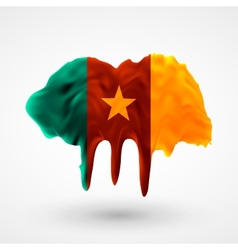 Flag of cameroon painted colors vector