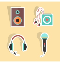 Music stickers with shadow vector