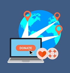 Online charity donate concept flat design isolated vector