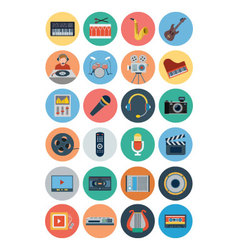 Multimedia flat icons 1 vector