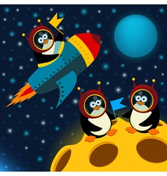 Penguin on moon vector