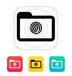 Folder with fingerprint icon vector